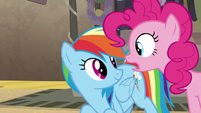 Pinkie Pie asks Rainbow Dash what happens S7E18