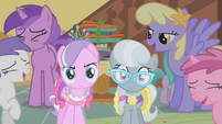 Ponies laughing at Diamond Tiara and Silver Spoon S01E12