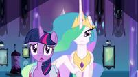 Princess Celestia behind Twilight EG