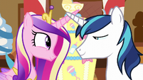 Shining Armor and Cadance smile at each other S5E19