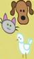 Dog's head, cat's head, and white bird