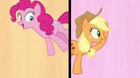 Pinkie Pie and Applejack in a split-screen S7E14