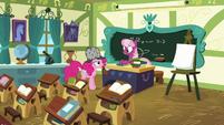 Pinkie Pie in Miss Cheerilee's classroom S7E23