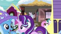 Trixie and Starlight pass by train station MLPBGE