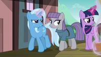 Trixie and Twilight lifting Sunburst's luggage S7E24