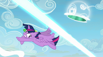 Twilight Sparkle avoids Starlight's magic beam S5E26