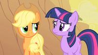 Applejack and Twilight considering Appleloosa's plight S1E21