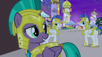 Guard Chrysalis looks at guards embarrassed S9E17