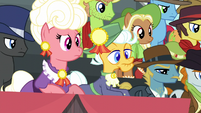 Judge ponies listening to Scootaloo S5E6