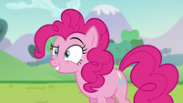 Pinkie Pie with one of her eyebrows up S5E24
