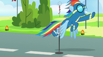 Rainbow Dash takes off into the sky S7E7