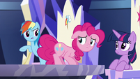 Rainbow asks Pinkie -how did you know all that-- S5E19