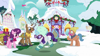 Rarity dashing past winter ponies MLPBGE