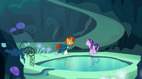 Starlight and Sunburst next to the Mirror Pool S7E24