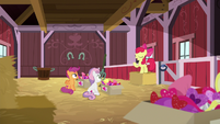 Apple Bloom addresses her friends in the barn S8E10