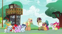 CMCs and Scootaloo's parents outside school S9E12