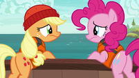 Pinkie and AJ looking at each other disappointed S6E22