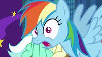 Rainbow Dash photobombs Lyra and Bon Bon S8E5