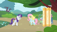 Rarity inspects Fluttershy's outfit 3 S1E20