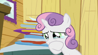 Sweetie Belle wiping some tears away S9E12