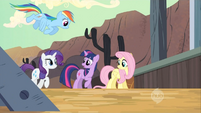 Twilight, Rainbow Dash, Fluttershy, and Rarity leaving the train S2E14