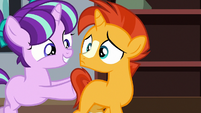 Young Starlight pushing Sunburst to the table S7E24