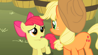 Apple Bloom looks up at Applejack S2E15