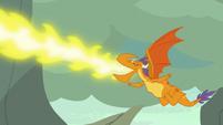 "Billy blowing fire as he shouts ""go!"" S7E25"