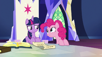 Pinkie Pie appears next to Twilight's throne S7E11
