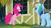 Pinkie Pie looks inside A. K. Yearling's window S7E18