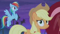 Rainbow and Applejack see Flutterbat closing in S4E07