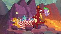 Spike, Garble, and Smolder having tea party S9E9