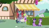 Twilight and Starlight hide behind the hedge bushes S7E14