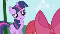 Twilight tells Apple Bloom she's busy