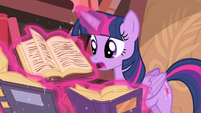 Twilight trying to find spell to cure Discord S4E11