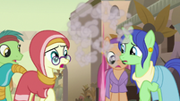 Pinkie Pie zips away from the villagers S7E18