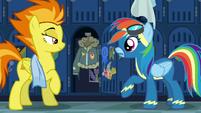 Spitfire reveals Rainbow Dash's jacket S6E7