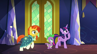 Twilight, Spike, and Sunburst in the castle S8E8
