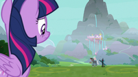 Twilight watches Chrysalis' tirade from afar S9E25