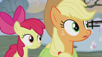 Applejack and Apple Bloom hear Pinkie whistle S5E20
