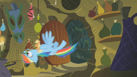 Applejack and Rainbow storm the hut S1E09