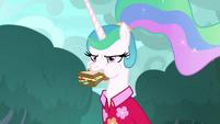 Celestia stuffs her sandwich in her mouth S9E13