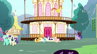 Main ponies sulking outside Town Hall S8E18