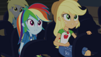 Rainbow and AJ looking at the stage CYOE2c
