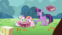 Twilight gives journal to Toola Roola and Coconut S7E14