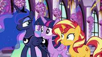 Luna raises an eyebrow at Twilight and Sunset EGFF