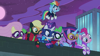 Spike and Power Ponies looking over ledge S4E06