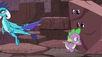 Spike pushes --rock--; Ember flies away S6E5