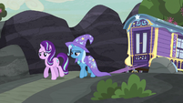 Starlight and Trixie walking toward the village S6E25
