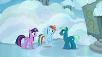 Twilight and Rainbow speak with Sky Stinger S6E24